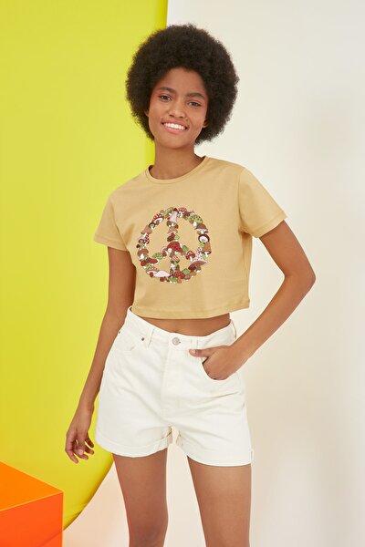 Camel  CROP T-Shirt TWOSS21TS2900