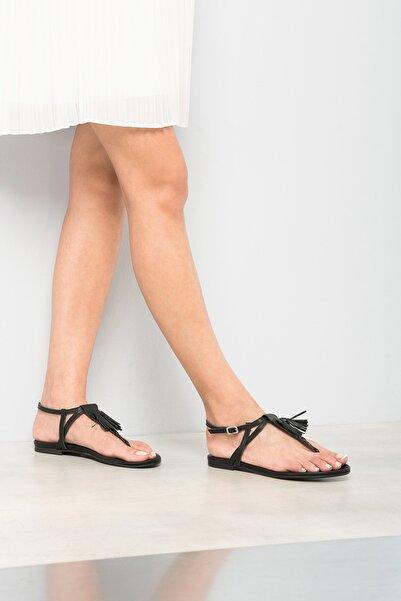 Hakiki Deri Siyah Kadın Sandalet 120120076038