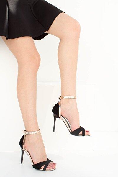 Siyah Bronz Kadın Topuklu Ayakkabı B922113802