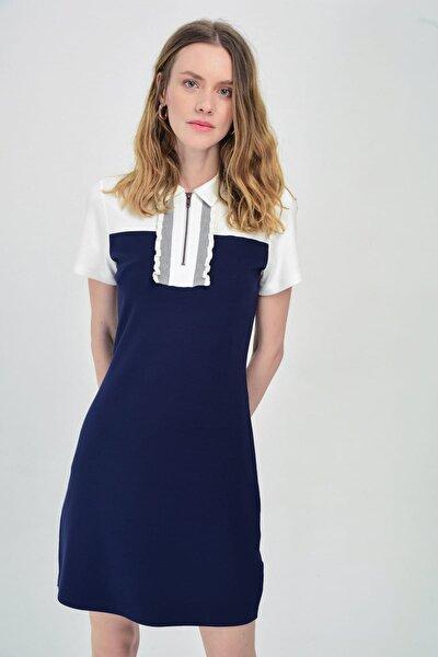 Kadın Lacivert - Beyaz Gömlek Yakalı Önden Fermuar Ve Ribana Detaylı Dar Elbise Hn1415