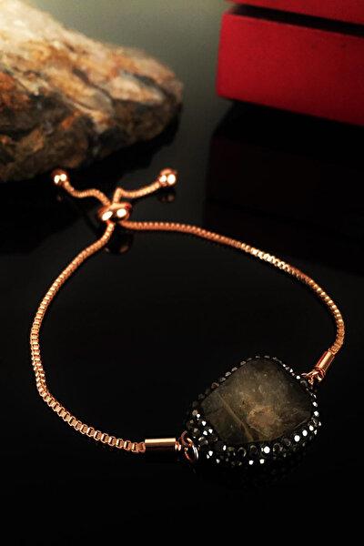 Kadın Doğaltaş Sitrin Taşı Rose Altın Kaplama Bileklik Krb176