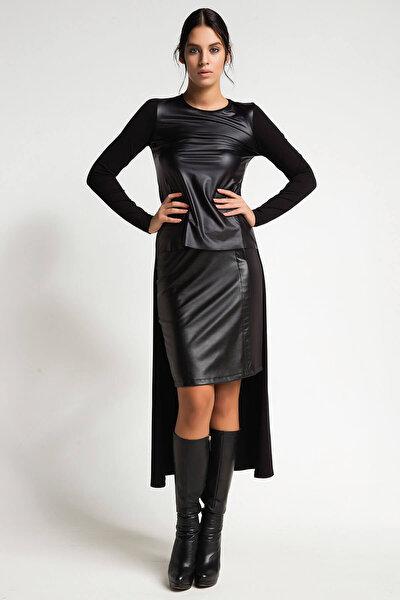 Kadın Siyah Deri Detaylı Asimetrik Kesim Bluz 15L4607