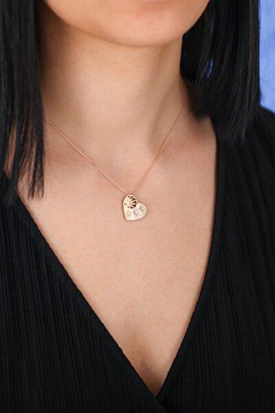 Kadın Pırlanta Ayçiçeği Kalp Kolye MKR115-14K