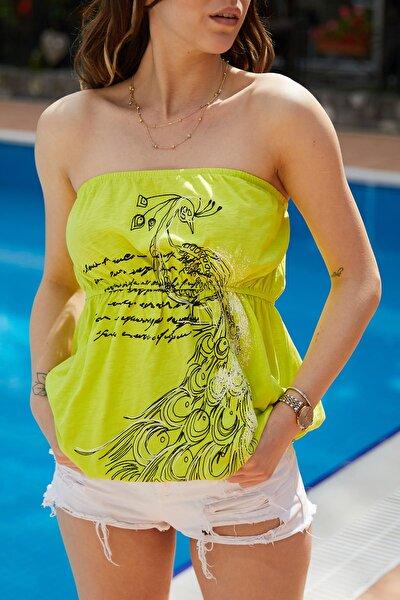 Kadın Fıstık Yeşili Baskılı Bluz 9YXK2-40930-41
