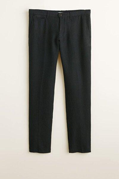 Erkek Siyah Dar Kesim Keten Pantolon 43047691