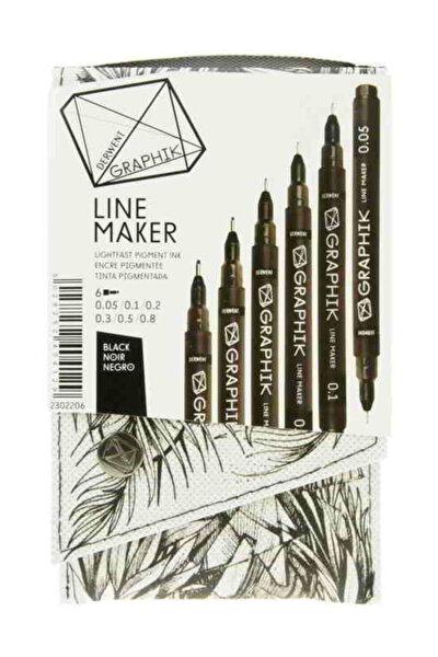 Graphik Line Maker Teknik Çizim ve Grafik Kalemi 6`lı Set BLACK