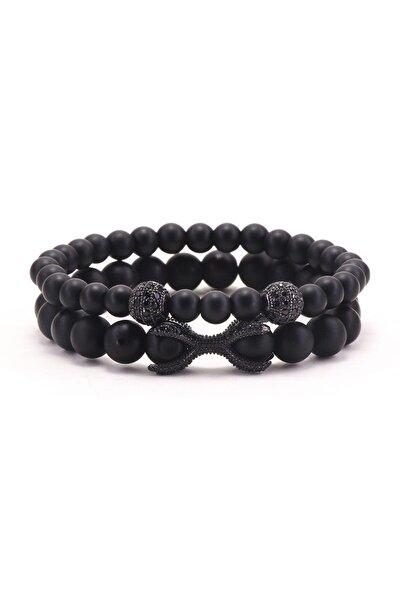 Siyah Renk Doğal Taş Mat Oniks Bileklik 'Elegant Harmony' 10279