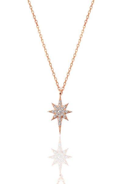 Kadın Gümüş Zirkon Taşlı Kutup Yıldızı Kolye SGTL9568