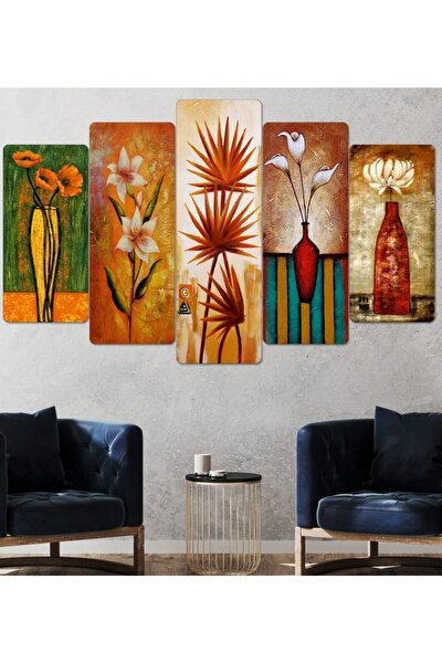 Çiçek Tablo-parçalı Ahşap Duvar Tablo Seti-5pr-816