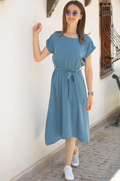 Kadın İndigo Beli Lastikli Bağlamalı Elbise ARM-18Y001120
