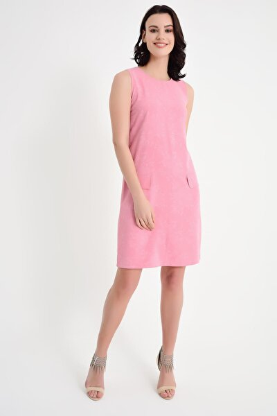 Kadın Pembe Flato Cep Elbise 19L6603