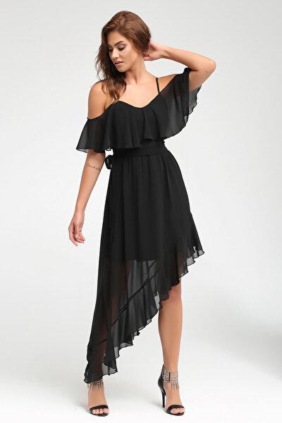 Kadın Siyah Omuz ve Etek Ucunda Volan Detaylı Elbise 17L5332