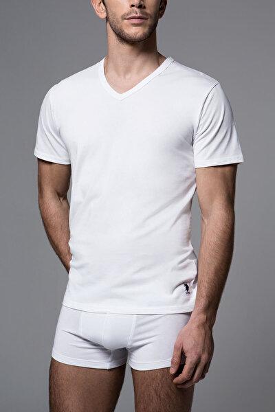 Erkek Beyaz Süprem V Yaka T-Shırt US.01.80206