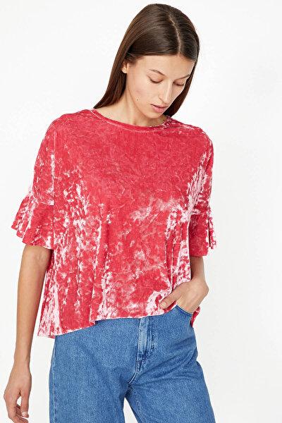 Kadın  Pembe Fırfır Detaylı T-Shirt 9KAK13833EK