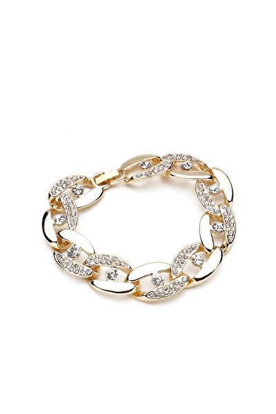 Kadın Altın Sarısı Kristal Taşlı Zincir Bileklik Ubl9563