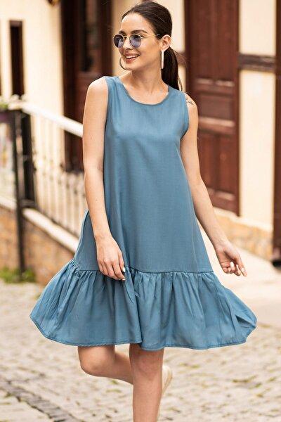 Kadın İndigo Kolsuz Eteği Fırfırlı Elbise ARM-18Y001156