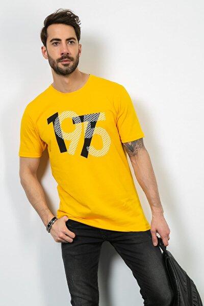 Erkek Sarı Bisiklet Yaka Baskılı Tshirt 9YTS385E144 9YTS385E144
