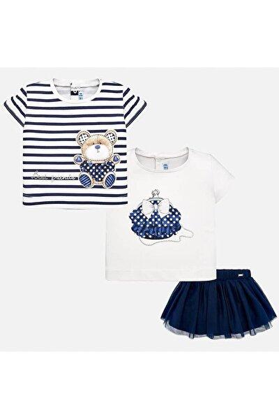 Yazlık Kız Bebek Bluz Etek 3'lü Set