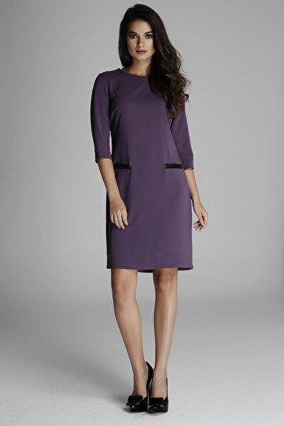 Kadın Lila Flato Cepli Klasik Kesim Elbise 14L4063