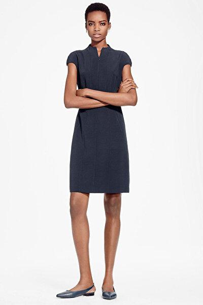 Kadın Lacivert Hakim Yaka Kısa Kollu Elbise