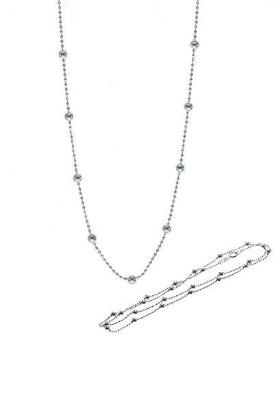 Kadın Gümüş Renk Gümüş 45 Cm Rodyumlu Hepsi Top Top Zincir SGTL8733