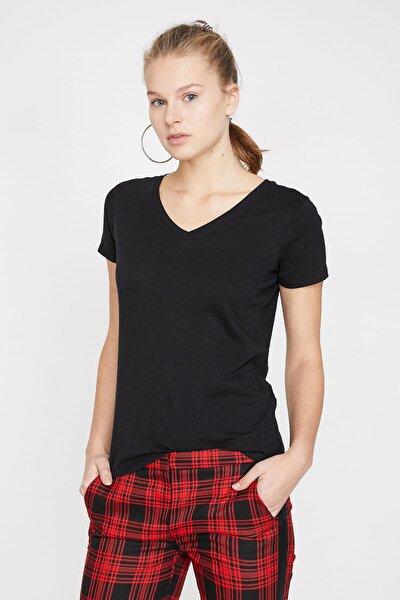 Kadın Siyah V Yaka T-Shirt 9YAL18794IK