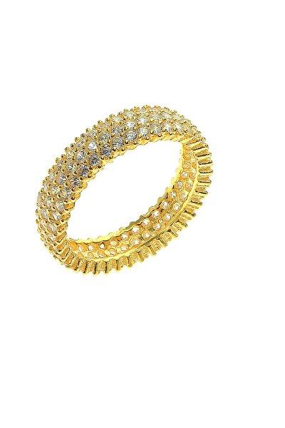 Kadın Gold Rengi Tamtur Üç Sıralı Zirkon Taşlı Yüzük SGTL5735
