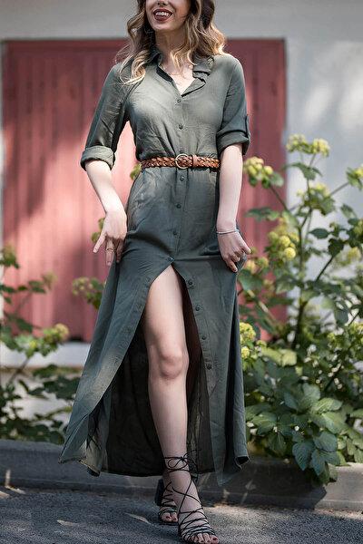 Kadın Haki Gömlek Elbise 8YXK6-30386-09