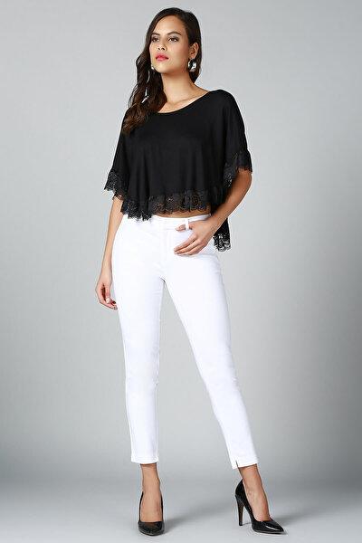 Kadın Siyah Dantel Detaylı Bluz BD2284