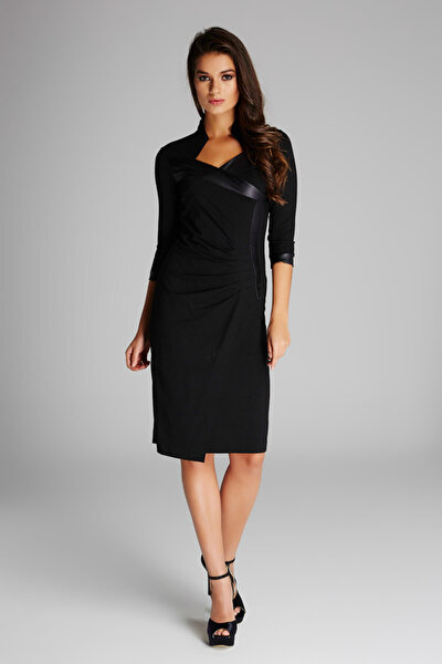 Kadın Siyah Büzgü Detaylı Elbise 14L1037
