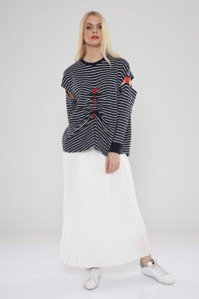 Kadın Lacivert-Beyaz Ön Beden Grogren Düğüm Detaylı Bluz Hn702