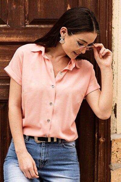 Kadın Pudra Kısa Kol Gömlek ARM-19Y001065
