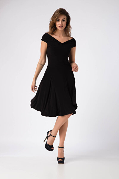 Kadın Siyah Omuz Dekolteli Elbise 14L1062