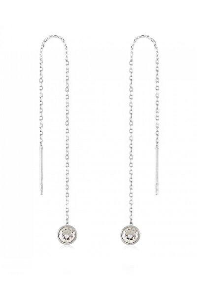 Kadın 925 Ayar Gümüş Zirkon Taşlı Gümüş Zincir Küpe K020001