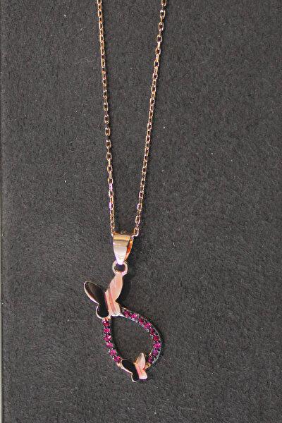 Kadın Kelebek Rose Gümüş Kolye TGK0275