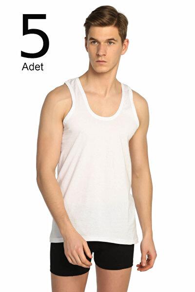Erkek Beyaz 5'li Paket Klasik Atlet ELF568T0101CCM5