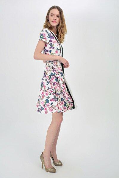 Kadın Çiçek Desenli Çiçek Desenli Kruvaze Elbise Hn1455