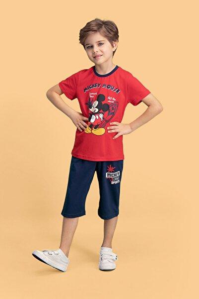 Erkek Çocuk Kırmızı Mickey & Minnie Mouse Lisanslı   Kapri Takım