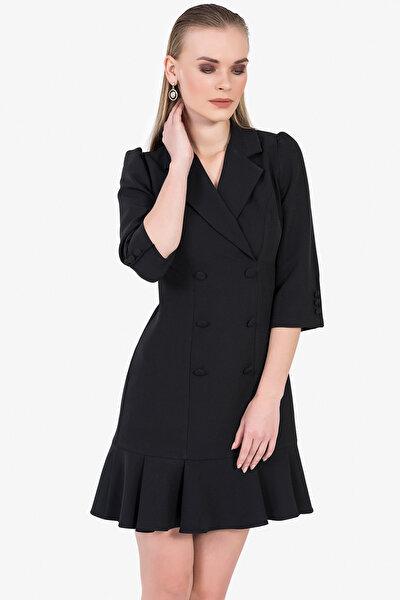 Kadın Siyah Volanlı Blazer Elbise 5131-891A