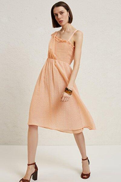 Kadın Somon Asimetrik Yakalı Dizaltı Elbise 9YKEL7115X
