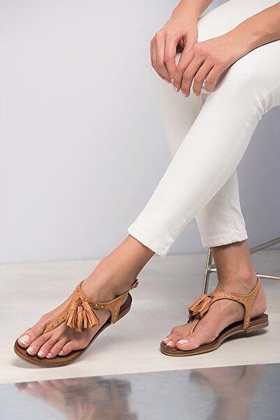 Hakiki Deri Taba Kadın Sandalet 120120453010