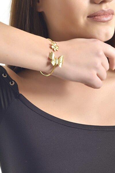 Kadın Altın Renk Kaplama Yuvarlak Kelebek&Çiçek  Bileklik