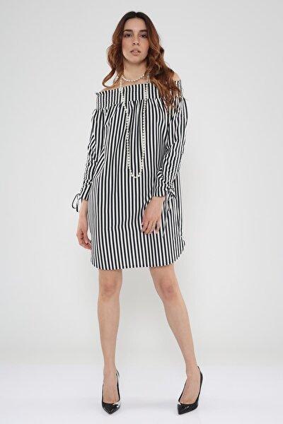 Kadın Çizgili Omuzdan Lastikli Düşük Elbise  Hn525