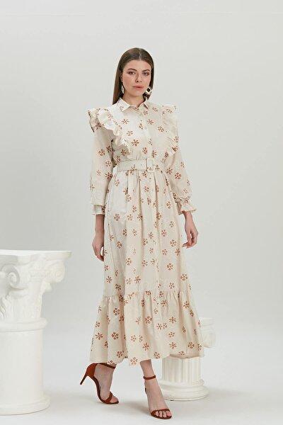 Fırfır Detaylı Kemerli Elbise