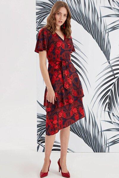 Kadın Kırmızı Kruvaze Düğme Detaylı, Volan Kol Asimetrik Katlı Elbise