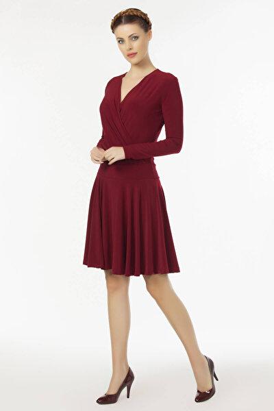 Kadın Bordo Kruvaze Yaka Elbise 19L6440