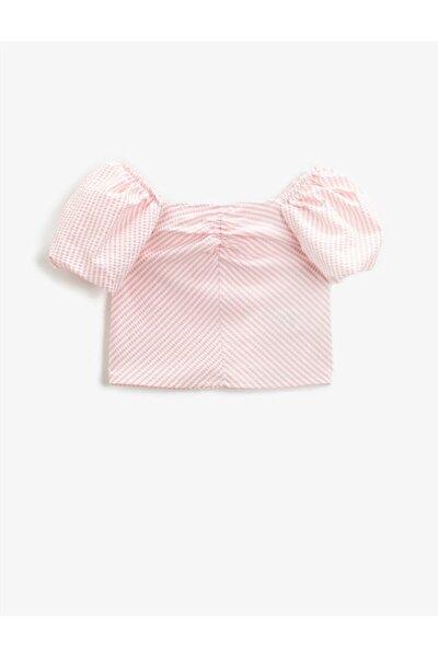 Kız Çocuk Çizgili Bluz Balon Kollu