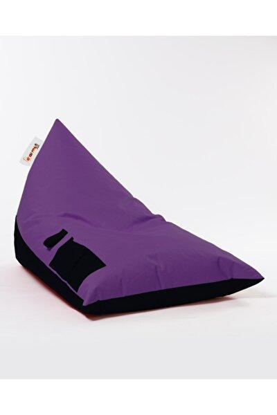 Piramit İki Renk Çift Taraflı Puf Mor-Siyah