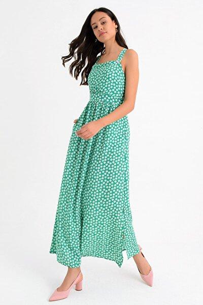 Kadın Yeşil Askılı Yanları Yırtmaçlı Çapraz Sırt Dekolteli Uzun Elbise Hn1657