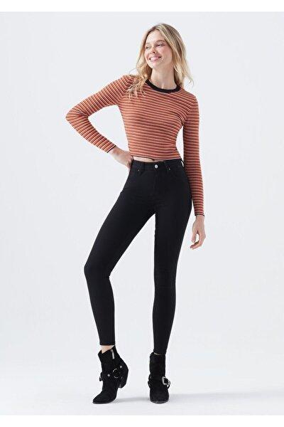 Kadın Siyah Solmayan Yüksel Bel Likralı Toparlayıcı Skinny Jeans Pantalon Sıkıştırıcı Pantolon